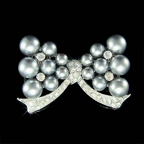 Bridal Wedding Swarovski Crystal Gray Pearl Bow Bouquet Brooch