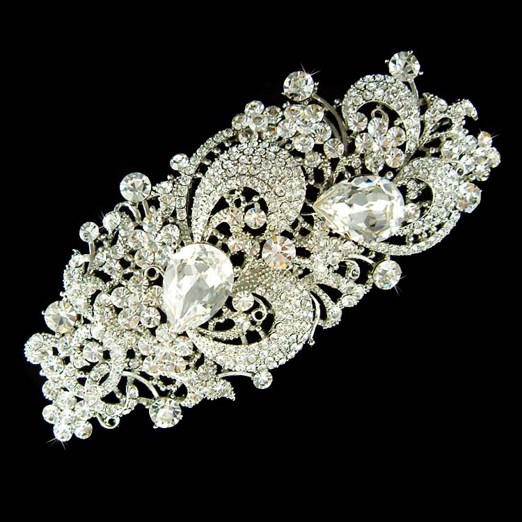 huge big long swarovski crystal bridal brooch for wedding