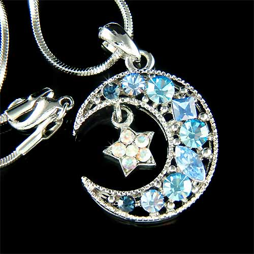 blue cyrstal pendant austrian star and shaped necklace key