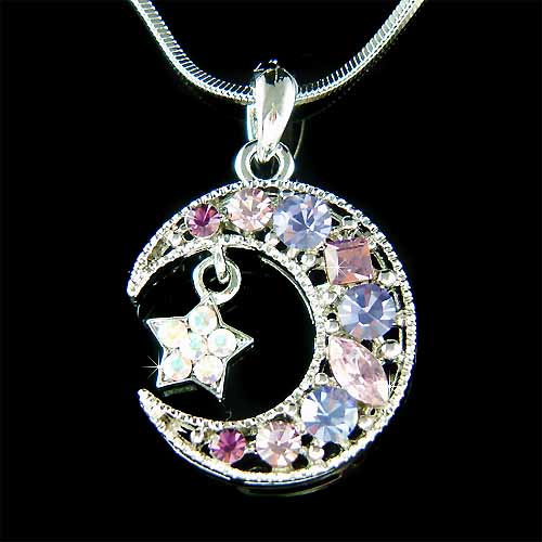 Purple swarovski crystal crescent moon star pendant necklace mozeypictures Gallery