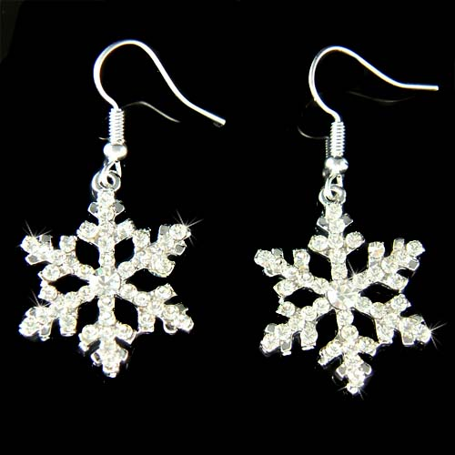 Swarovski Crystal Clear Snowflake Christmas White Snow Earrings Click To Enlarge