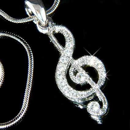 Treble G Clef Musical Note Swarovski Crystal Pendant Necklace - Music Necklaces - Swarovski ...