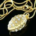 Gold 3D American Football Swarovski Crystal Pendant Necklace